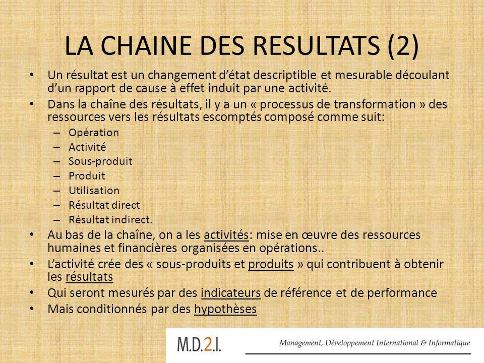 LA CHAINE DES RESULTATS (2) Un résultat est un changement d'état descriptible et mesurable découlant d'un rapport de cause à effet induit par une acti