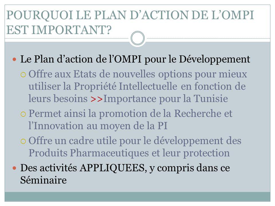 POURQUOI LE PLAN D'ACTION DE L'OMPI EST IMPORTANT? Le Plan d'action de l'OMPI pour le Développement  Offre aux Etats de nouvelles options pour mieux