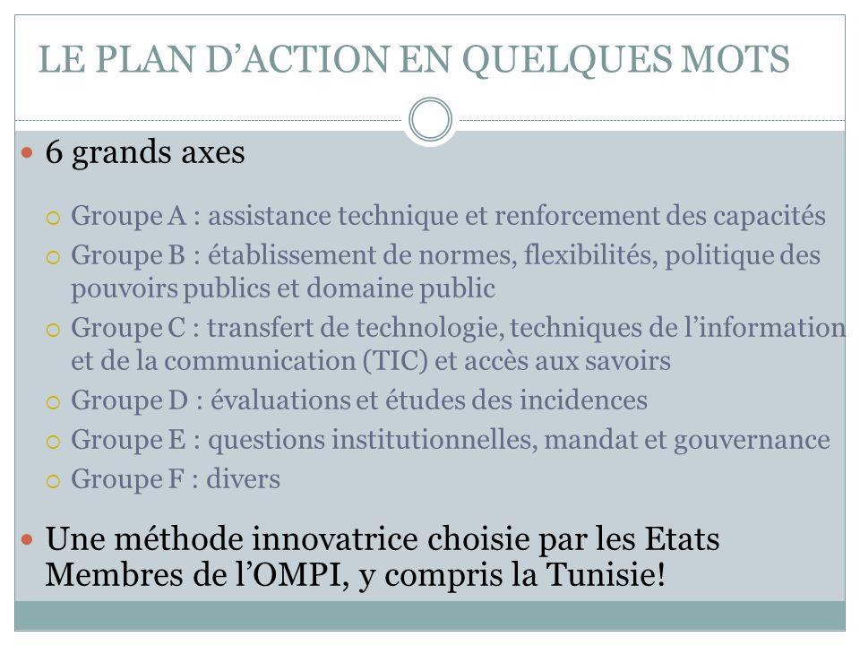 LE PLAN D'ACTION EN QUELQUES MOTS 6 grands axes  Groupe A : assistance technique et renforcement des capacités  Groupe B : établissement de normes,