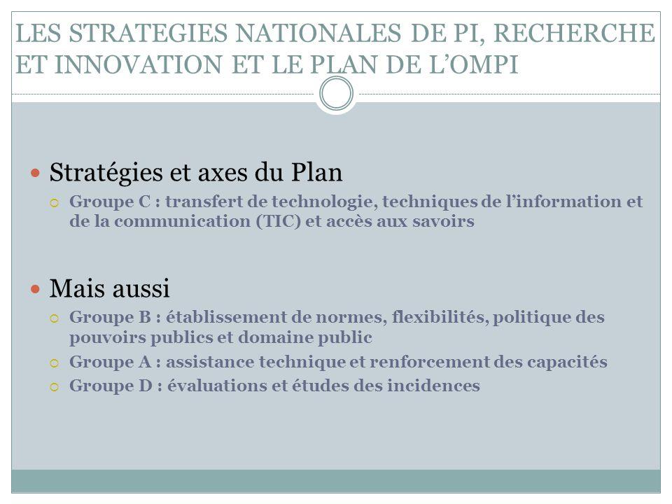 LES STRATEGIES NATIONALES DE PI, RECHERCHE ET INNOVATION ET LE PLAN DE L'OMPI Stratégies et axes du Plan  Groupe C : transfert de technologie, techni