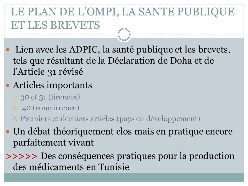 LE PLAN DE L'OMPI, LA SANTE PUBLIQUE ET LES BREVETS Lien avec les ADPIC, la santé publique et les brevets, tels que résultant de la Déclaration de Doh