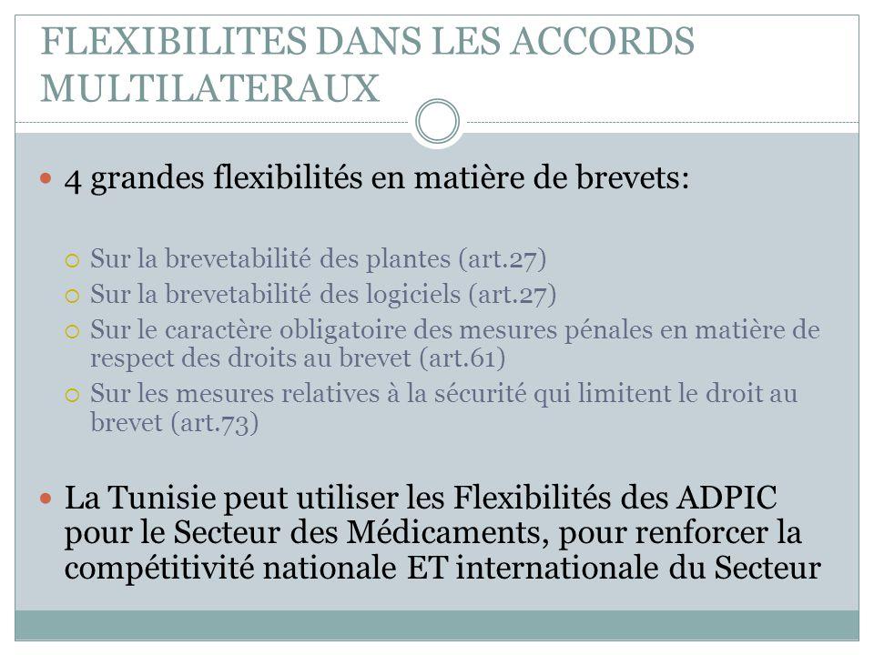 FLEXIBILITES DANS LES ACCORDS MULTILATERAUX 4 grandes flexibilités en matière de brevets:  Sur la brevetabilité des plantes (art.27)  Sur la breveta