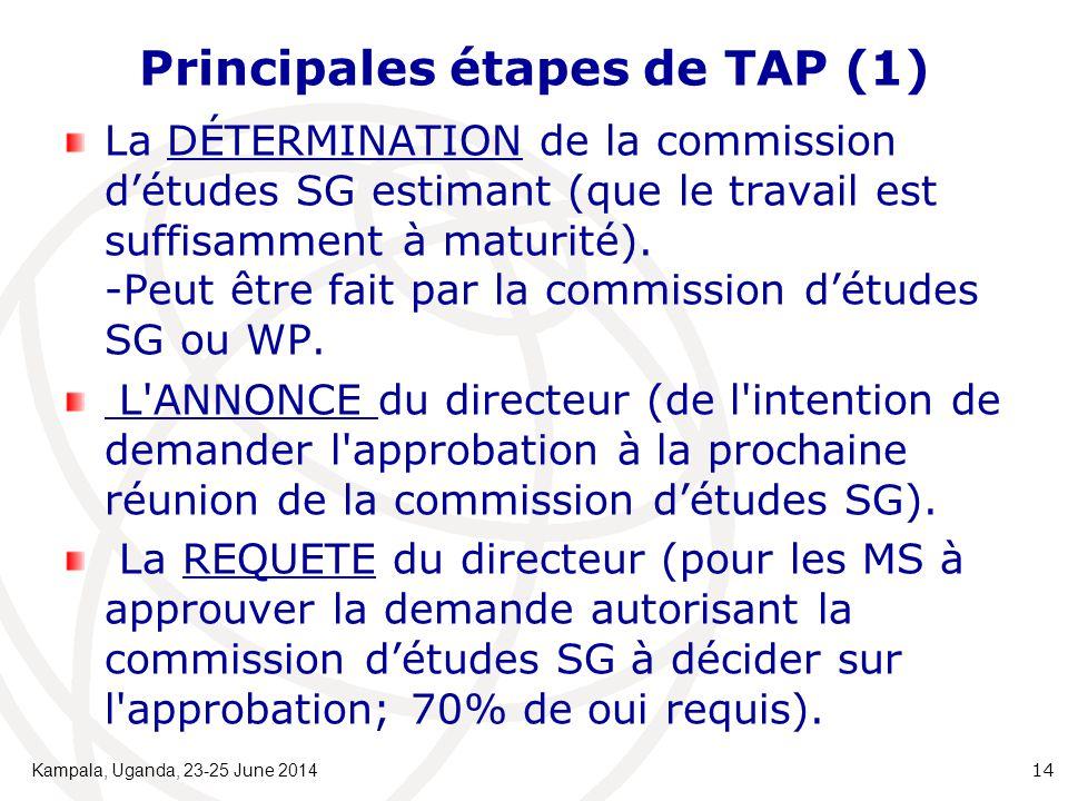 Principales étapes de TAP (1) La DÉTERMINATION de la commission d'études SG estimant (que le travail est suffisamment à maturité). -Peut être fait par