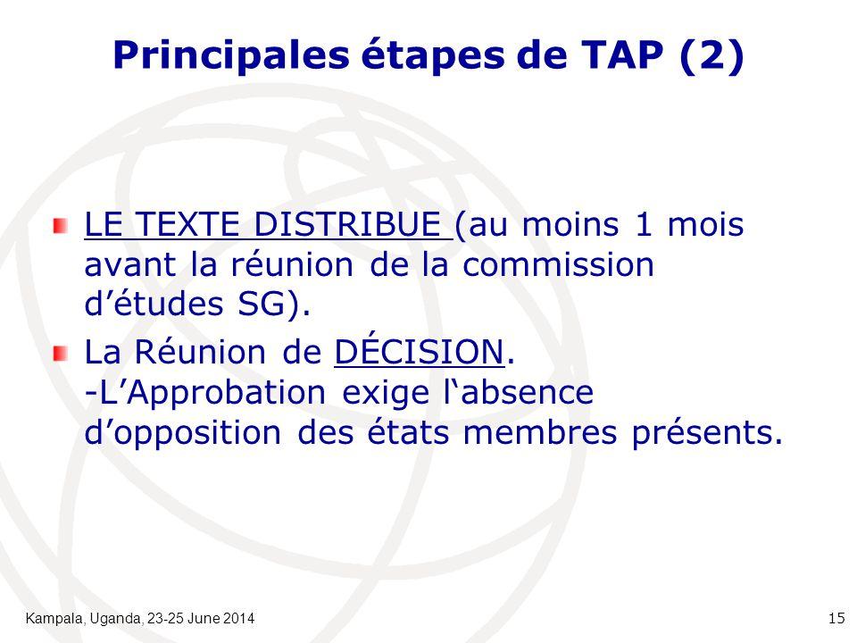 Principales étapes de TAP (2) LE TEXTE DISTRIBUE (au moins 1 mois avant la réunion de la commission d'études SG). La Réunion de DÉCISION. -L'Approbati