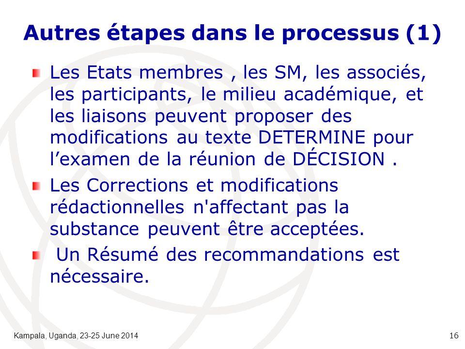 Autres étapes dans le processus (1) Les Etats membres, les SM, les associés, les participants, le milieu académique, et les liaisons peuvent proposer des modifications au texte DETERMINE pour l'examen de la réunion de DÉCISION.
