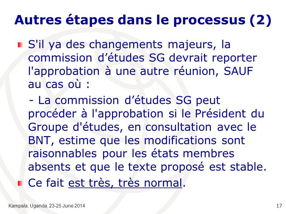 Autres étapes dans le processus (2) S'il ya des changements majeurs, la commission d'études SG devrait reporter l'approbation à une autre réunion, SAU