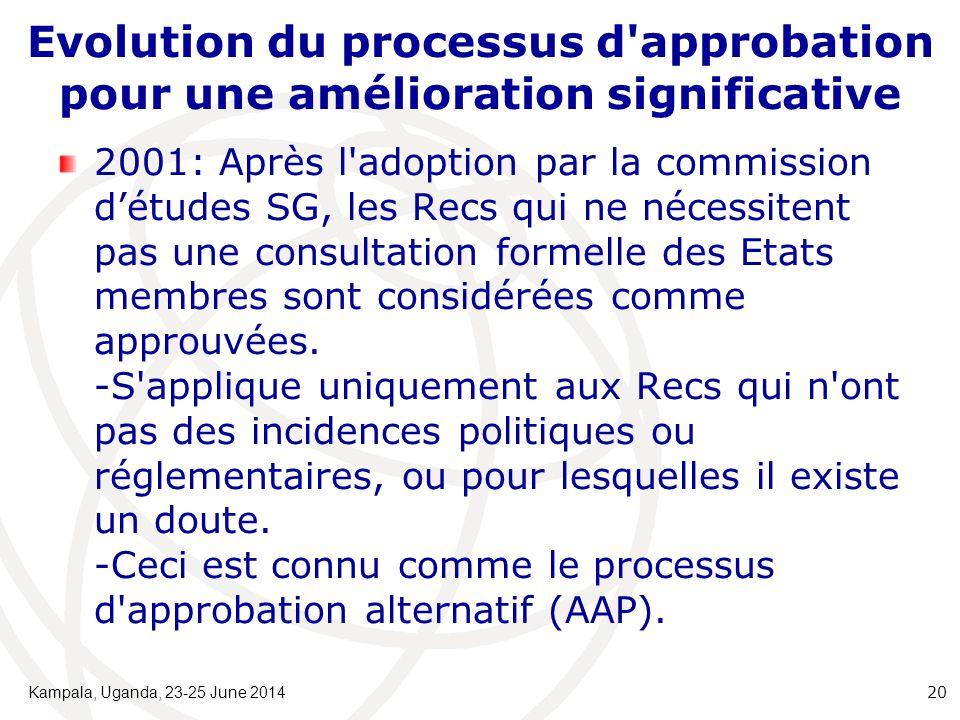 Evolution du processus d approbation pour une amélioration significative 2001: Après l adoption par la commission d'études SG, les Recs qui ne nécessitent pas une consultation formelle des Etats membres sont considérées comme approuvées.