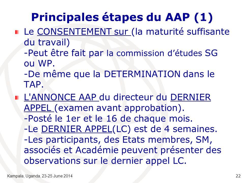 Principales étapes du AAP (1) Le CONSENTEMENT sur (la maturité suffisante du travail) -Peut être fait par la commission d'études SG ou WP. -De même qu