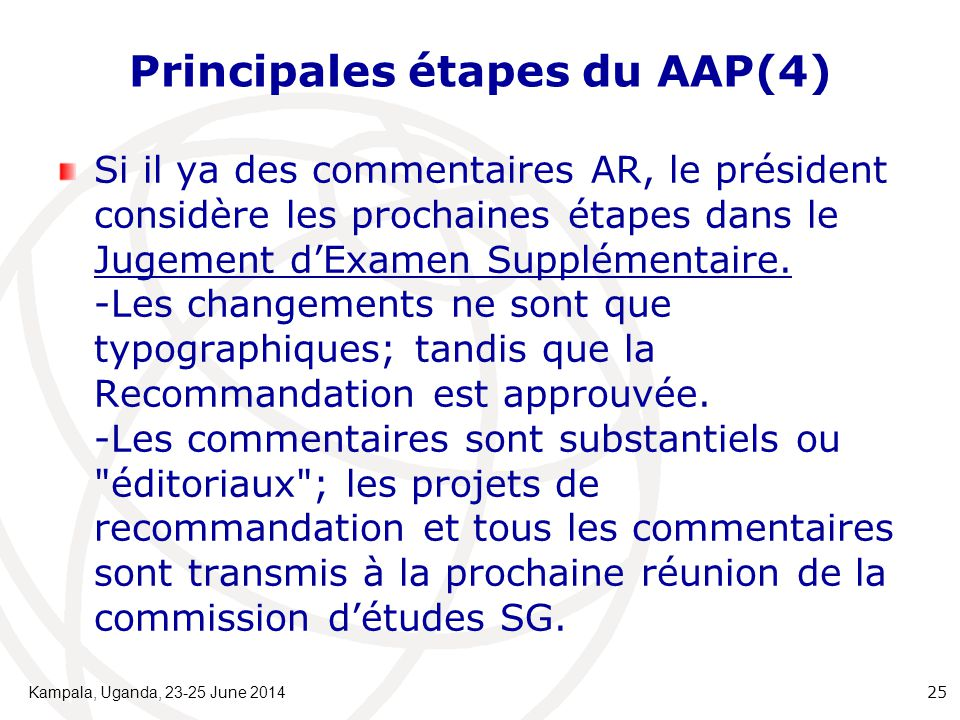 Principales étapes du AAP(4) Si il ya des commentaires AR, le président considère les prochaines étapes dans le Jugement d'Examen Supplémentaire. -Les