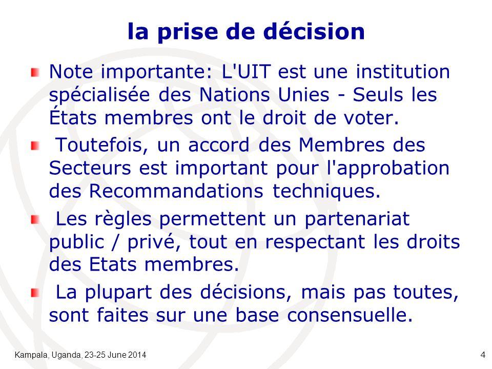 la prise de décision Note importante: L'UIT est une institution spécialisée des Nations Unies - Seuls les États membres ont le droit de voter. Toutefo