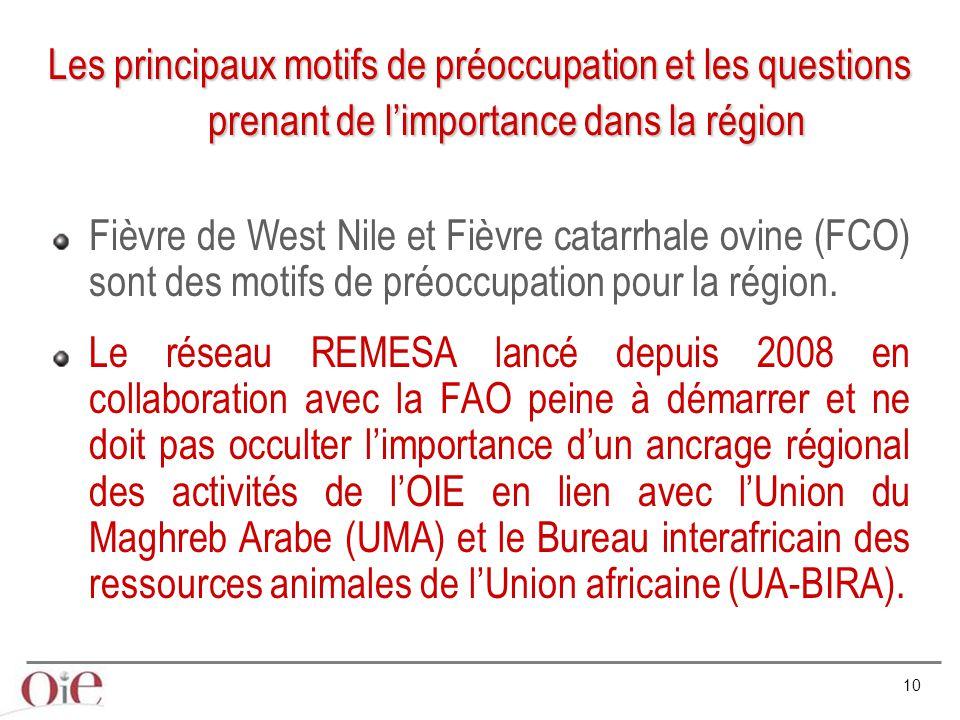 10 Fièvre de West Nile et Fièvre catarrhale ovine (FCO) sont des motifs de préoccupation pour la région. Le réseau REMESA lancé depuis 2008 en collabo