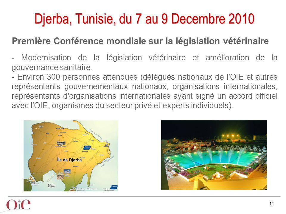 11 Djerba, Tunisie, du 7 au 9 Decembre 2010 Première Conférence mondiale sur la législation vétérinaire - Modernisation de la législation vétérinaire et amélioration de la gouvernance sanitaire, - Environ 300 personnes attendues (délégués nationaux de l OIE et autres représentants gouvernementaux nationaux, organisations internationales, représentants d organisations internationales ayant signé un accord officiel avec l OIE, organismes du secteur privé et experts individuels).
