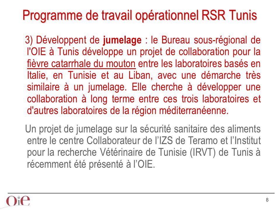 9 Programme de travail opérationnel RSR Tunis 4) Statuts sanitaire officiel OIE : La RSR entend développer pour les Pays de la région qui le souhaitent, une démarche d'appui pour l'obtention des statuts sanitaires officiel pour la fièvre aphteuse.