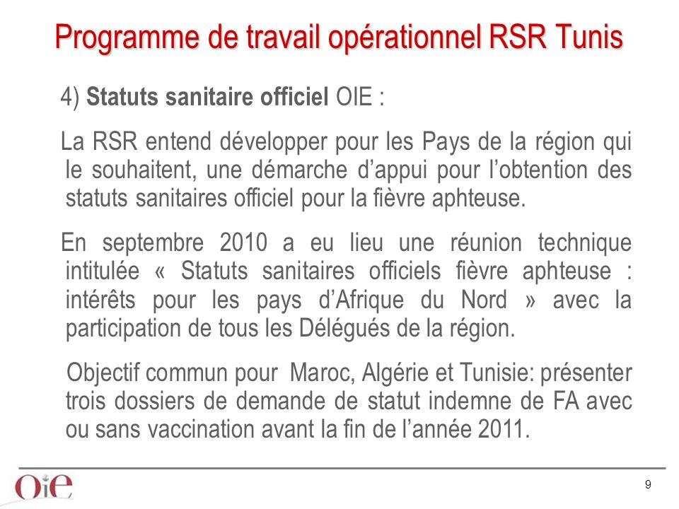9 Programme de travail opérationnel RSR Tunis 4) Statuts sanitaire officiel OIE : La RSR entend développer pour les Pays de la région qui le souhaiten
