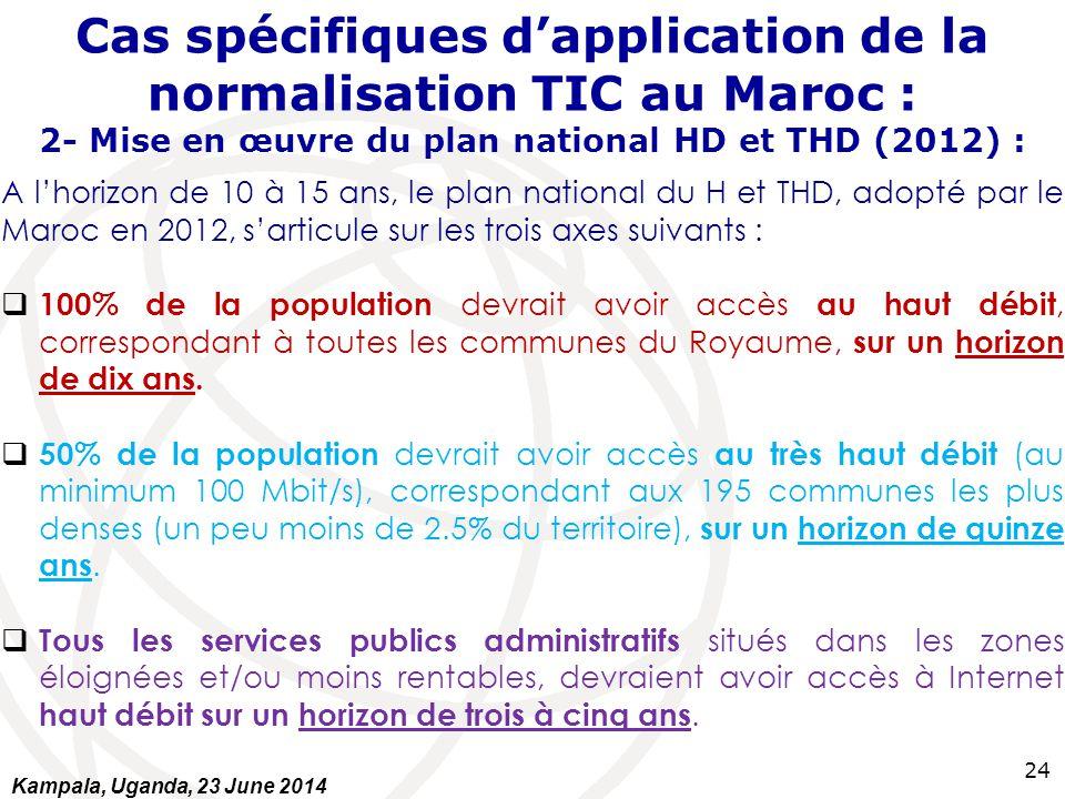 24 Cas spécifiques d'application de la normalisation TIC au Maroc : 2- Mise en œuvre du plan national HD et THD (2012) : A l'horizon de 10 à 15 ans, l