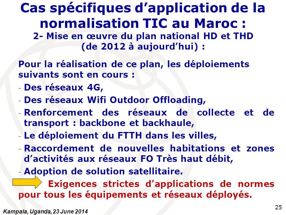 25 Cas spécifiques d'application de la normalisation TIC au Maroc : 2- Mise en œuvre du plan national HD et THD (de 2012 à aujourd'hui) : Pour la réal