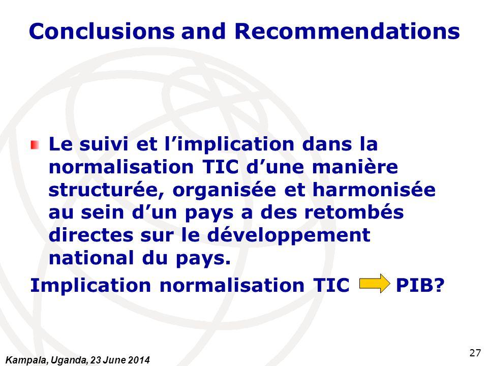 Conclusions and Recommendations Le suivi et l'implication dans la normalisation TIC d'une manière structurée, organisée et harmonisée au sein d'un pay