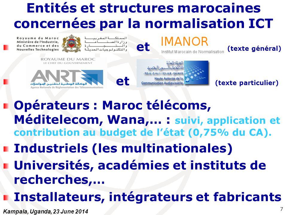 Entités et structures marocaines concernées par la normalisation ICT et (texte général) et (texte particulier) Opérateurs : Maroc télécoms, Méditeleco