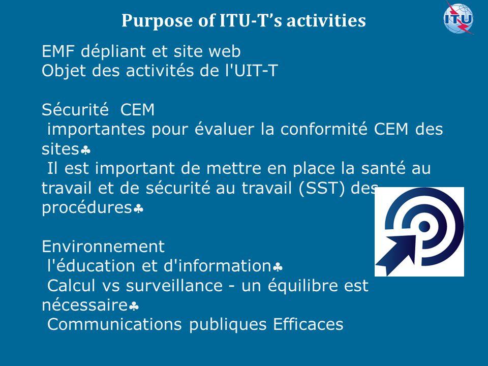 Committed to connecting the world EMF dépliant et site web Objet des activités de l'UIT-T Sécurité CEM importantes pour évaluer la conformité CEM des