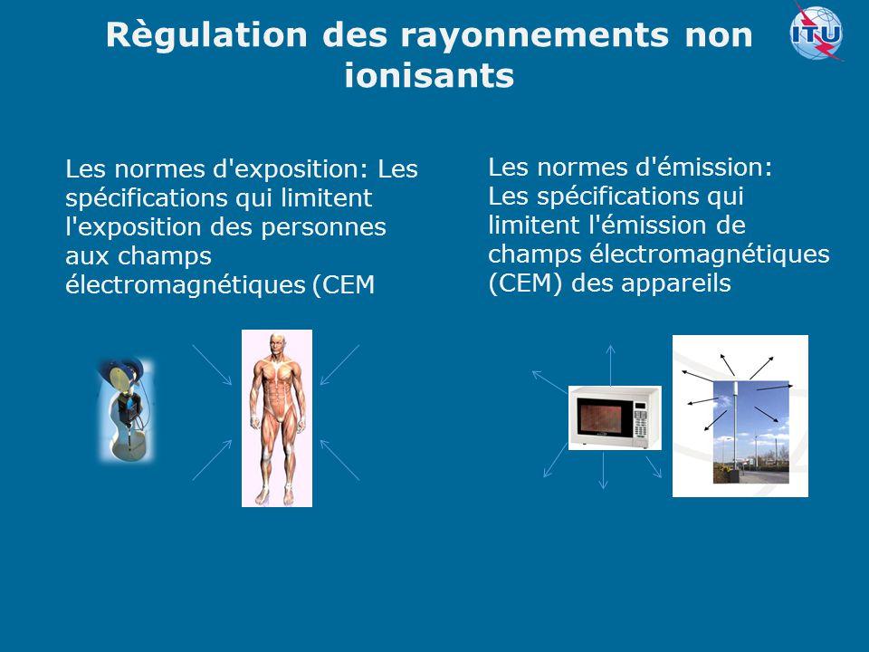 Committed to connecting the world Règulation des rayonnements non ionisants Les normes d'émission: Les spécifications qui limitent l'émission de champ