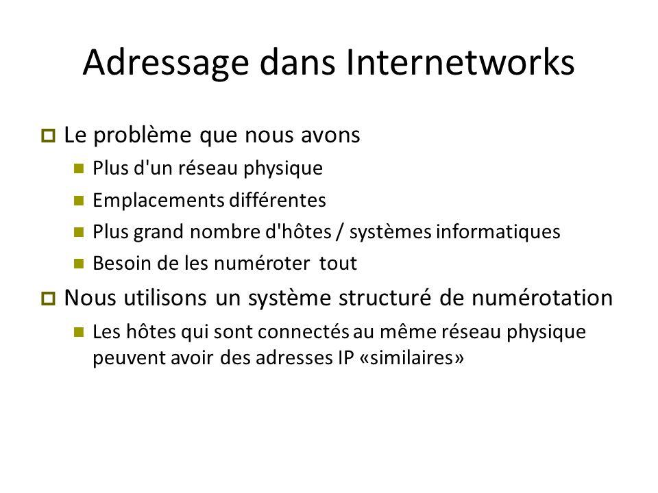 Adressage dans Internetworks  Le problème que nous avons Plus d'un réseau physique Emplacements différentes Plus grand nombre d'hôtes / systèmes info