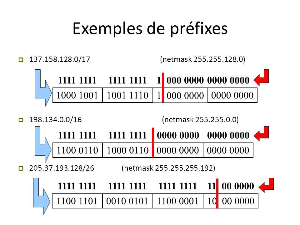Exemples de préfixes  137.158.128.0/17 (netmask 255.255.128.0)  198.134.0.0/16 (netmask 255.255.0.0)  205.37.193.128/26 (netmask 255.255.255.192) 1