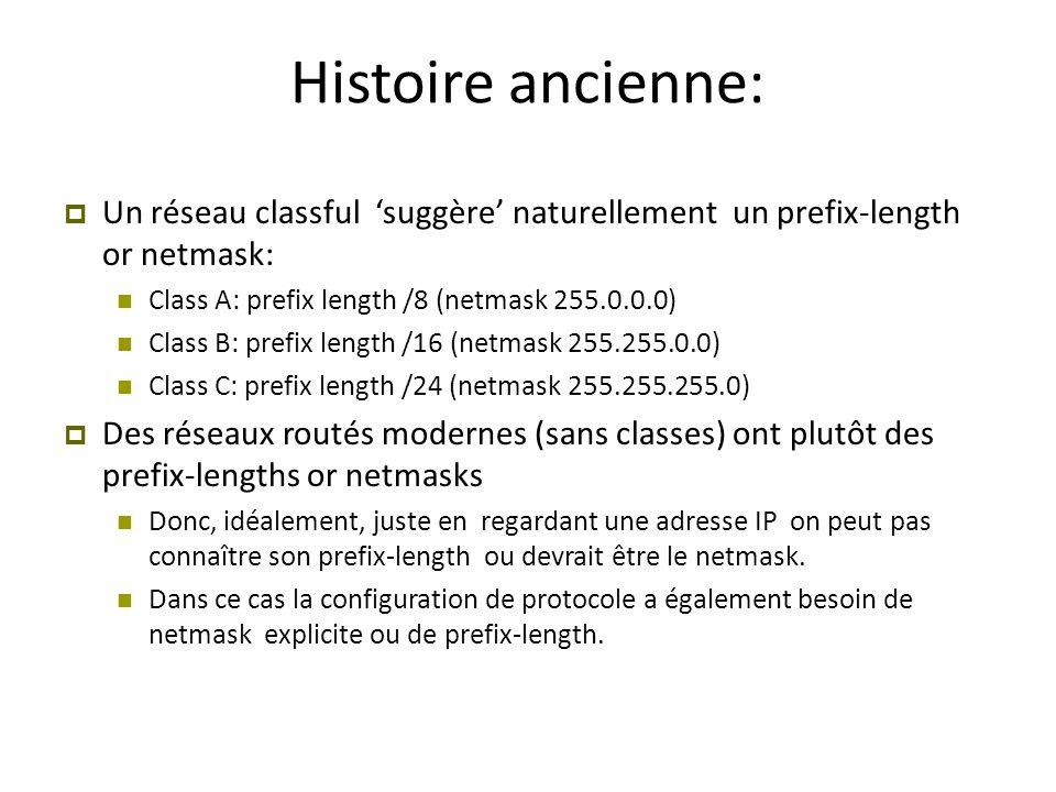 Histoire ancienne:  Un réseau classful 'suggère' naturellement un prefix-length or netmask: Class A: prefix length /8 (netmask 255.0.0.0) Class B: pr