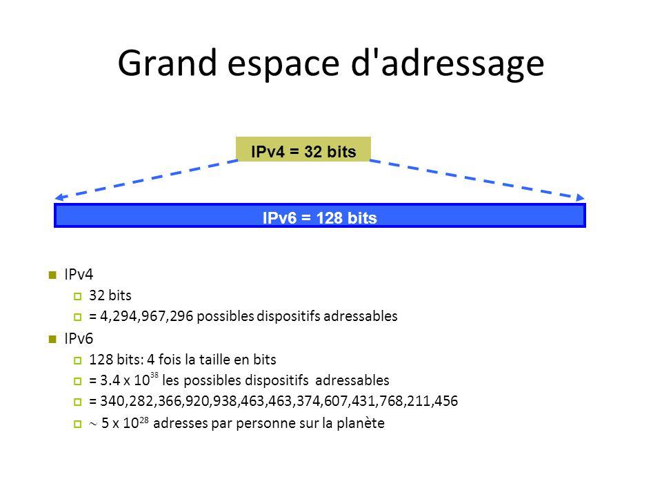Grand espace d'adressage IPv4  32 bits  = 4,294,967,296 possibles dispositifs adressables IPv6  128 bits: 4 fois la taille en bits  = 3.4 x 10 38