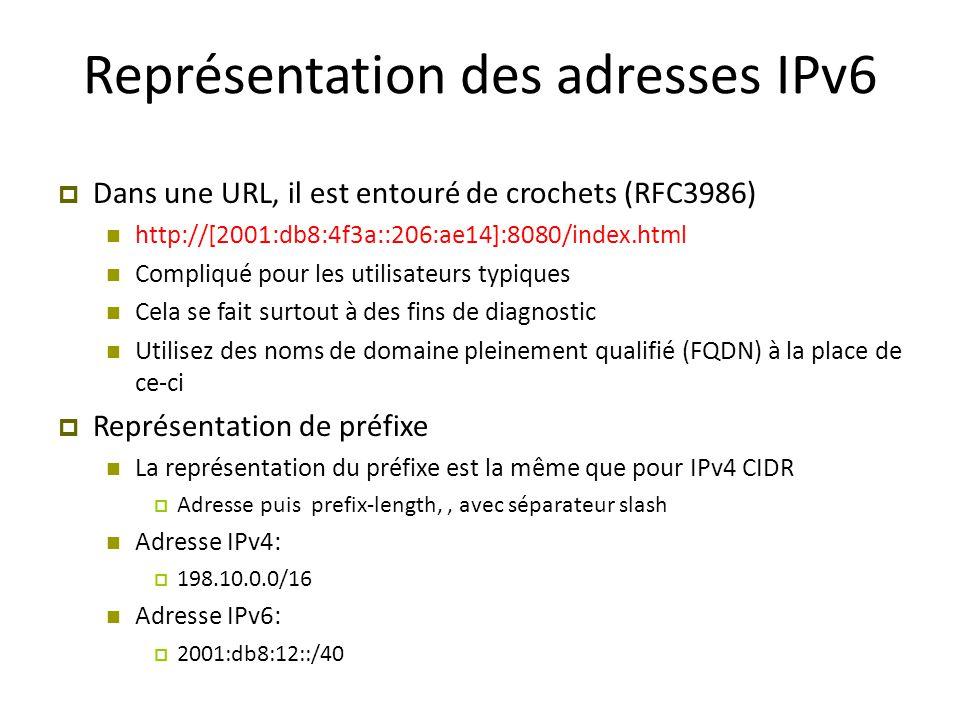Représentation des adresses IPv6  Dans une URL, il est entouré de crochets (RFC3986) http://[2001:db8:4f3a::206:ae14]:8080/index.html Compliqué pour