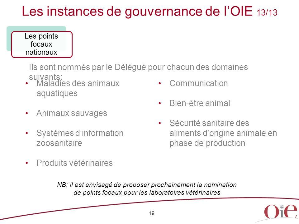 Les instances de gouvernance de l'OIE 13/13 19 Maladies des animaux aquatiques Animaux sauvages Systèmes d'information zoosanitaire Produits vétérinai