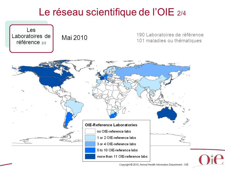 21 190 Laboratoires de référence 101 maladies ou thématiques Le réseau scientifique de l'OIE 2/4 Les Laboratoires de référence 2/2 Mai 2010