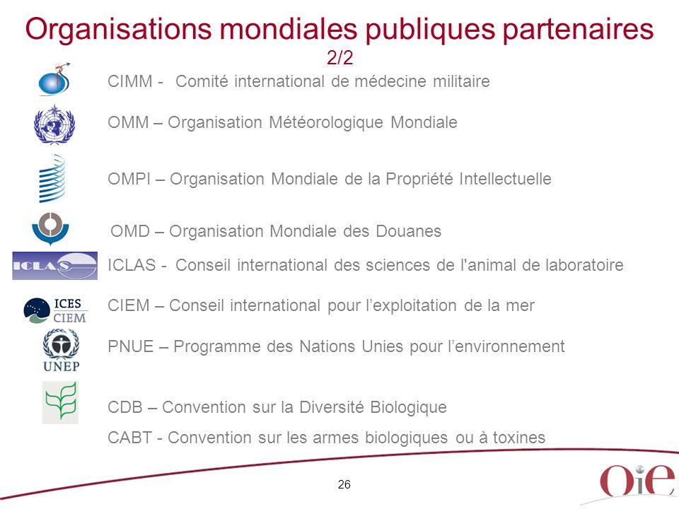 26 Organisations mondiales publiques partenaires 2/2 CIMM -Comité international de médecine militaire OMM – Organisation Météorologique Mondiale ICLAS