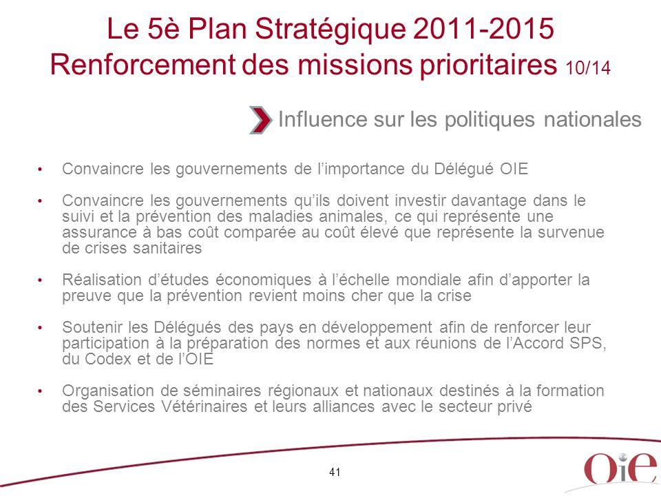 41 Le 5è Plan Stratégique 2011-2015 Renforcement des missions prioritaires 10/14 Convaincre les gouvernements de l'importance du Délégué OIE Convaincr
