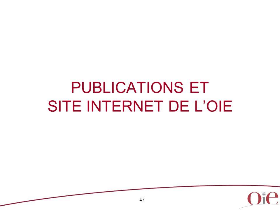47 PUBLICATIONS ET SITE INTERNET DE L'OIE