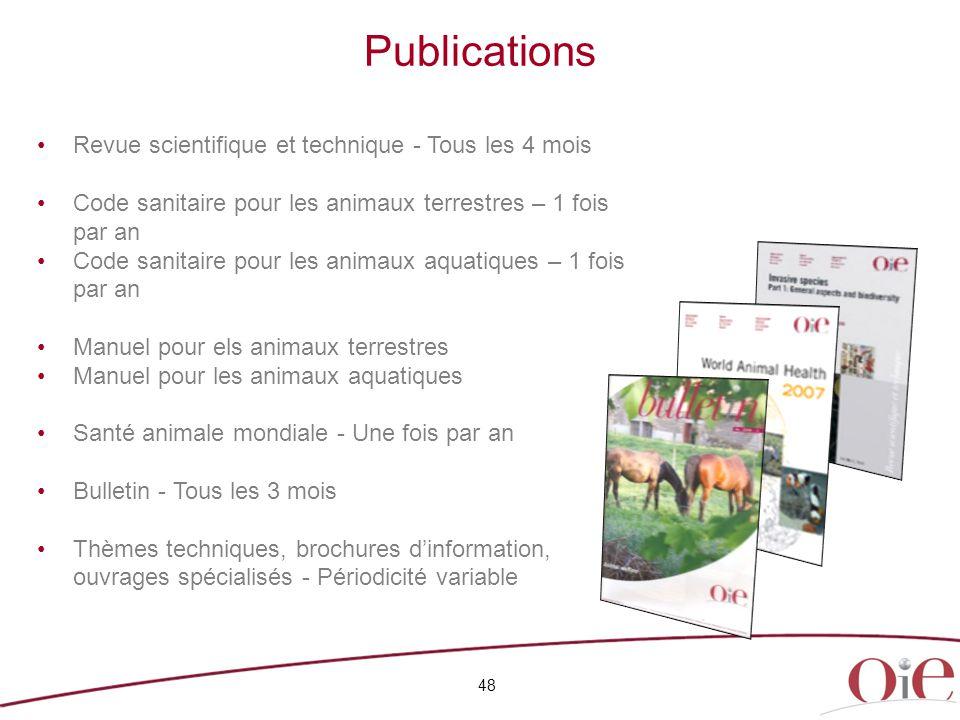 Publications 48 Revue scientifique et technique - Tous les 4 mois Code sanitaire pour les animaux terrestres – 1 fois par an Code sanitaire pour les a