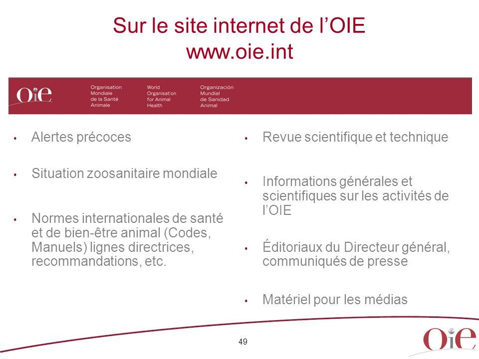 Sur le site internet de l'OIE www.oie.int 49 Alertes précoces Situation zoosanitaire mondiale Normes internationales de santé et de bien-être animal (