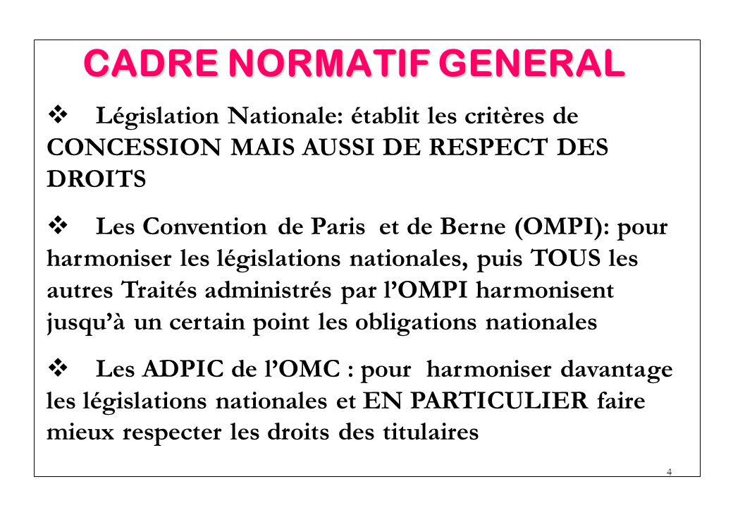 4  Législation Nationale: établit les critères de CONCESSION MAIS AUSSI DE RESPECT DES DROITS  Les Convention de Paris et de Berne (OMPI): pour harmoniser les législations nationales, puis TOUS les autres Traités administrés par l'OMPI harmonisent jusqu'à un certain point les obligations nationales  Les ADPIC de l'OMC : pour harmoniser davantage les législations nationales et EN PARTICULIER faire mieux respecter les droits des titulaires CADRE NORMATIF GENERAL