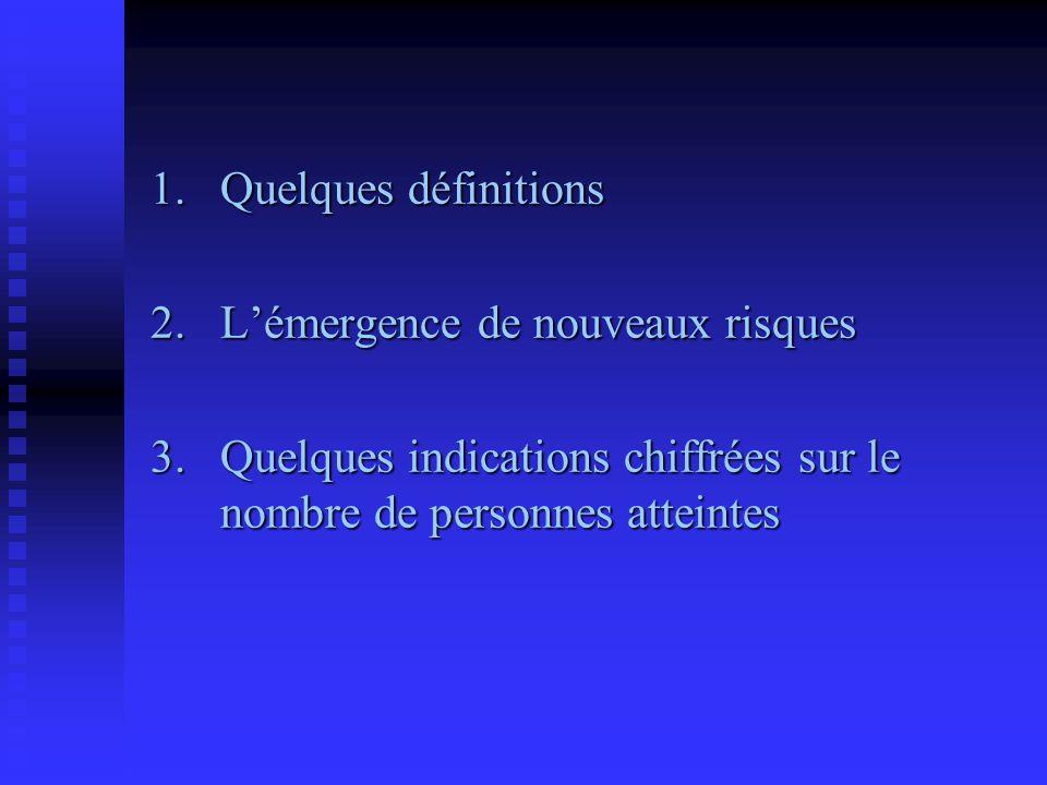 1.Quelques définitions 2.L'émergence de nouveaux risques 3.Quelques indications chiffrées sur le nombre de personnes atteintes