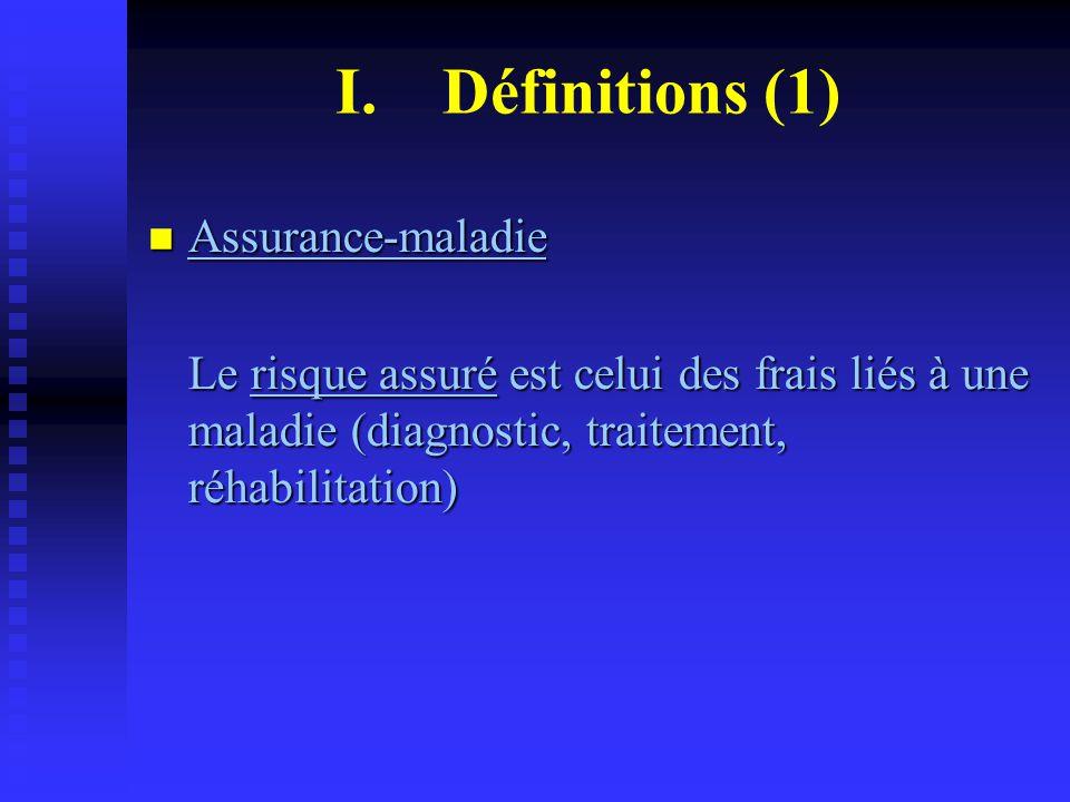 Assurance-maladie Assurance-maladie Le risque assuré est celui des frais liés à une maladie (diagnostic, traitement, réhabilitation) I.Définitions (1)