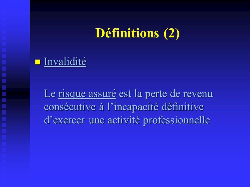 Définitions (3) Dépendance Dépendance Le risque assuré est celui des frais consécutifs à la nécessité de l'assistance permanente d'une tierce personne pour exercer les actes ordinaires de la vie