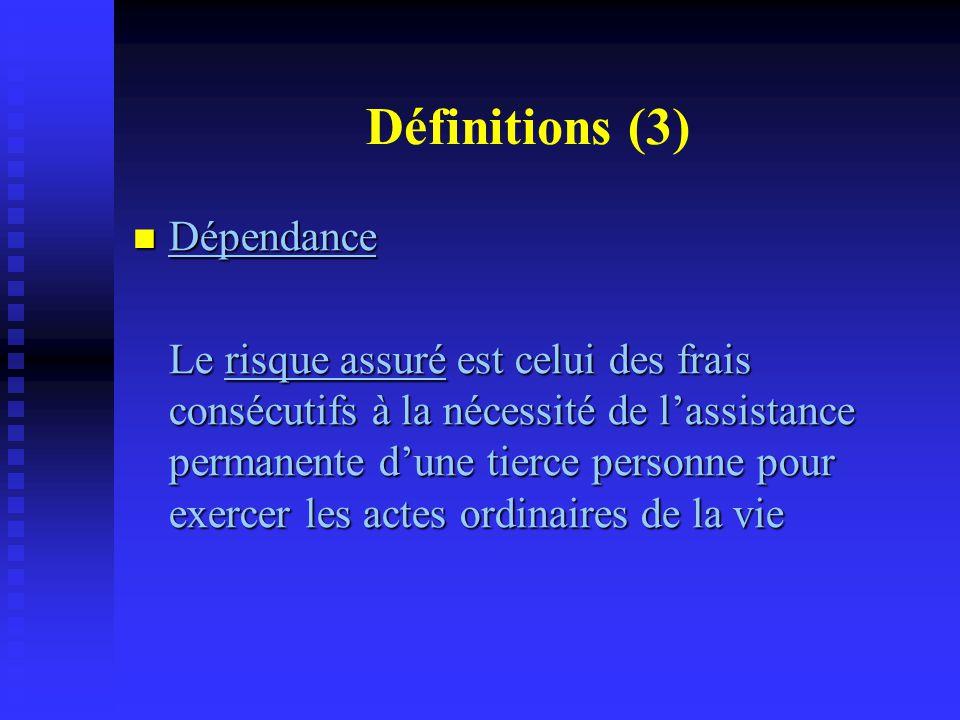 Définitions (3) Dépendance Dépendance Le risque assuré est celui des frais consécutifs à la nécessité de l'assistance permanente d'une tierce personne