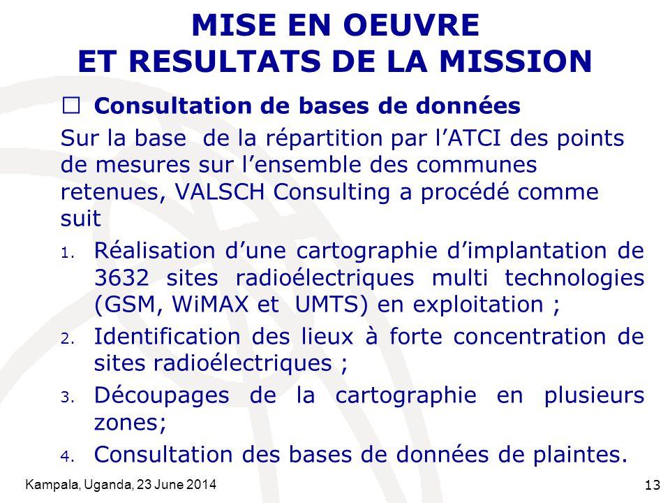 Kampala, Uganda, 23 June 2014 13 MISE EN OEUVRE ET RESULTATS DE LA MISSION  Consultation de bases de données Sur la base de la répartition par l'ATCI