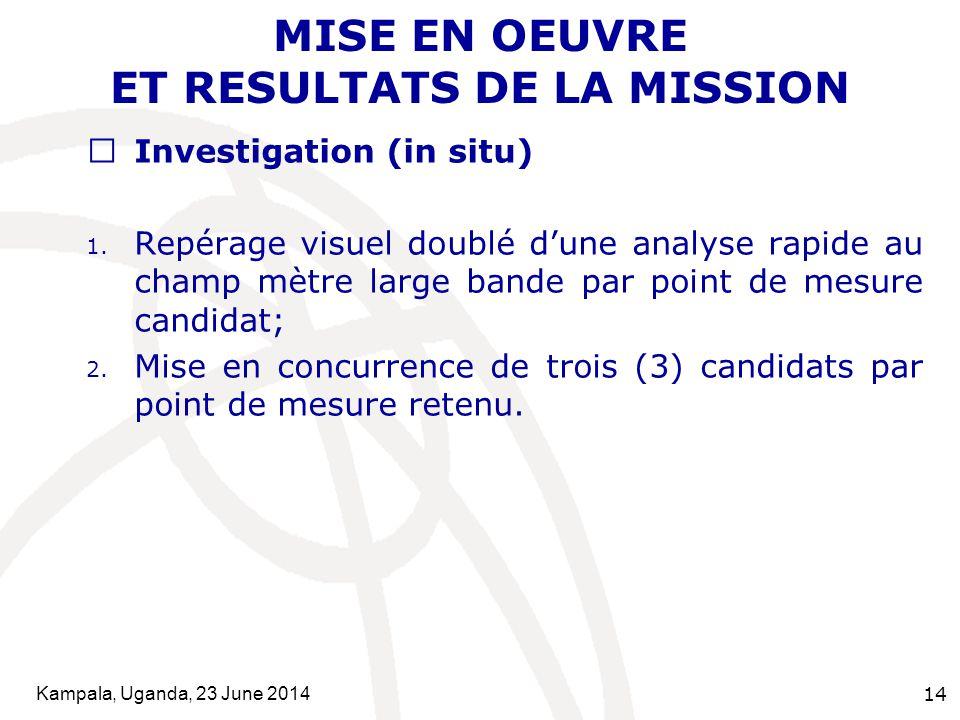 Kampala, Uganda, 23 June 2014 14 MISE EN OEUVRE ET RESULTATS DE LA MISSION  Investigation (in situ) 1. Repérage visuel doublé d'une analyse rapide au