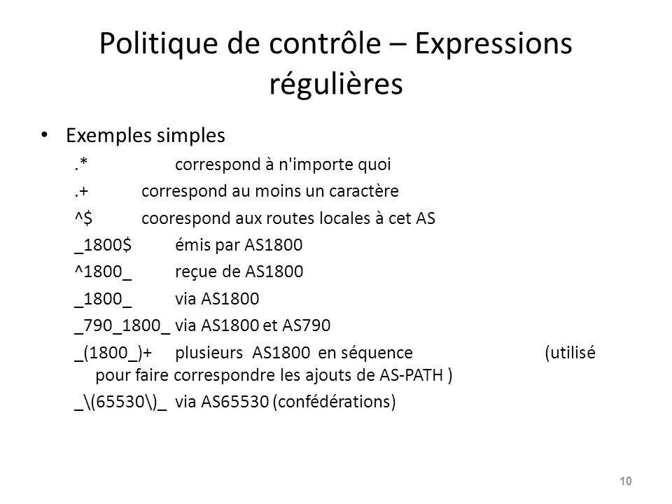 Politique de contrôle – Expressions régulières Exemples simples.*correspond à n'importe quoi.+correspond au moins un caractère ^$coorespond aux routes