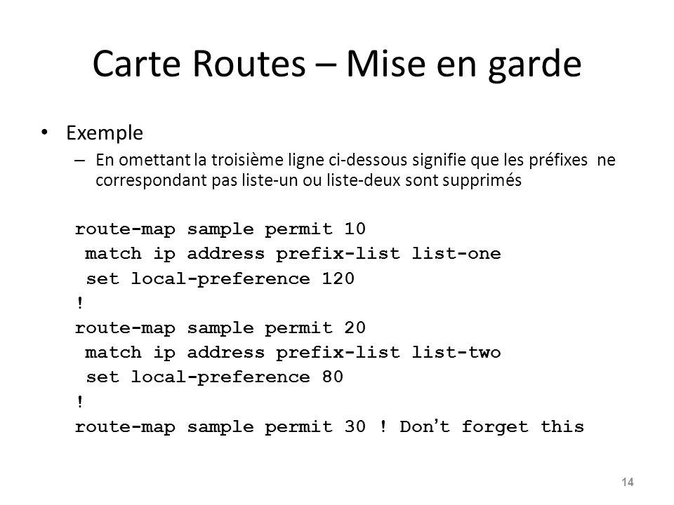Carte Routes – Mise en garde Exemple – En omettant la troisième ligne ci-dessous signifie que les préfixes ne correspondant pas liste-un ou liste-deux