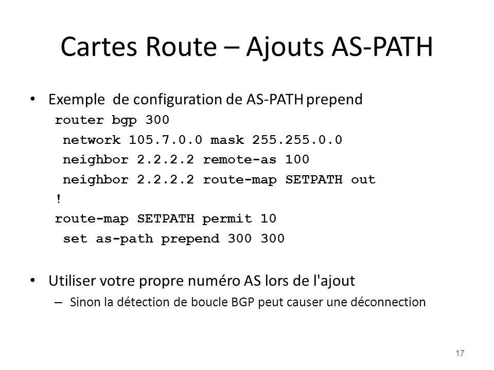 Cartes Route – Ajouts AS-PATH Exemple de configuration de AS-PATH prepend router bgp 300 network 105.7.0.0 mask 255.255.0.0 neighbor 2.2.2.2 remote-as