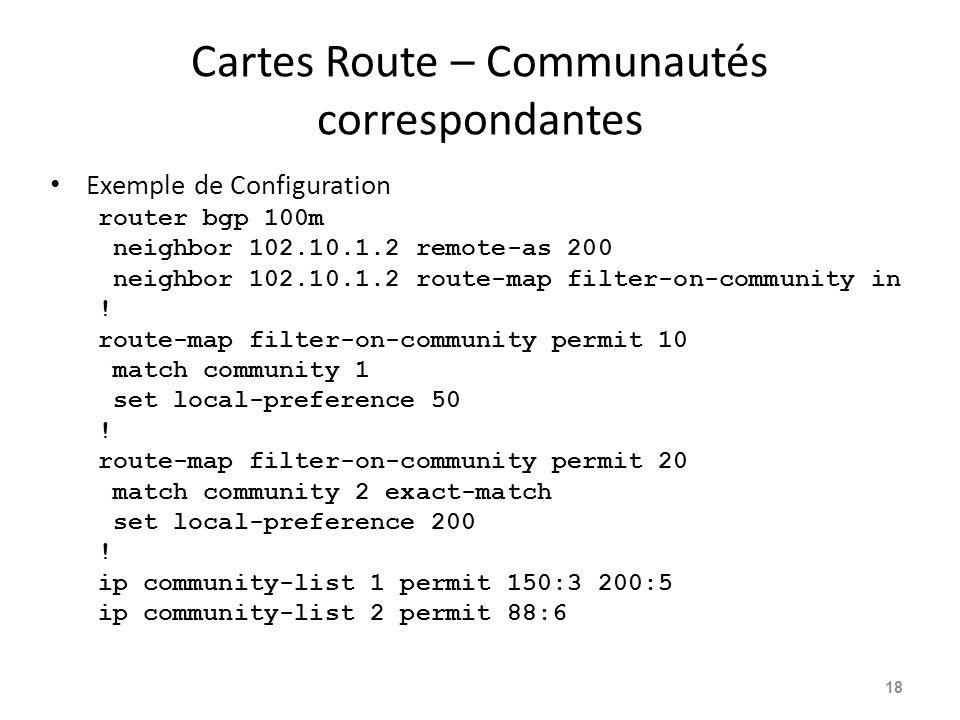 Cartes Route – Communautés correspondantes Exemple de Configuration router bgp 100m neighbor 102.10.1.2 remote-as 200 neighbor 102.10.1.2 route-map fi