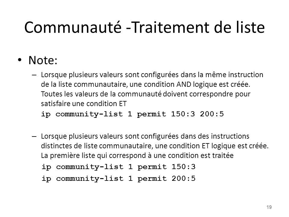 Communauté -Traitement de liste Note: – Lorsque plusieurs valeurs sont configurées dans la même instruction de la liste communautaire, une condition A