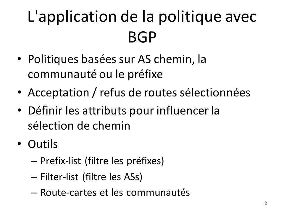 L'application de la politique avec BGP Politiques basées sur AS chemin, la communauté ou le préfixe Acceptation / refus de routes sélectionnées Défini