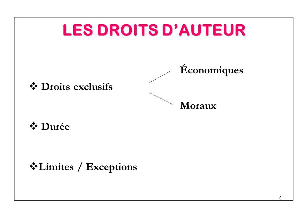 8  Limites / Exceptions  Droits exclusifs Économiques Moraux  Durée LES DROITS D'AUTEUR